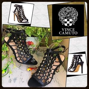 VINCE CAMUTO Caged Beaded Strappy Heels